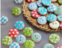 Wholesale Wooden buttons DIY sewing craft dot check Fashion fastener Scrapbooking Clothes parts