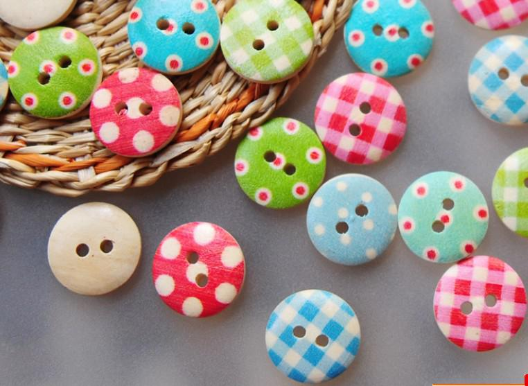 15mm 2 holes vintage wooden buttons diy sewing craft dotty for Craft buttons for sale