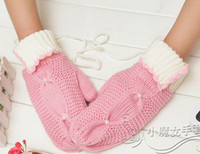 Wholesale 2012 knitted girls Mittens Winter glove pairs mix colors