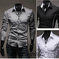Wholesale Men Shirts Brand New Mens Slim Fit Casual Dress Shirts Color Black Gray White