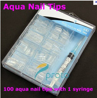 Plastic aqua nail art - Freeshipping NEW AQUA Nail Art Tips Clear False Nail Tips With Syringe injector