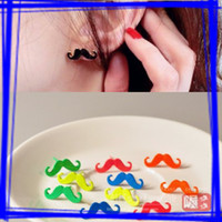 Wholesale 50Pairs NEW Lovely Moustache Handlebar Mustache Jewelry Stud Earrings For Women Girls Ear Nail