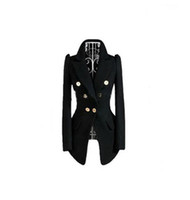 Women Polyester Waist_Length business suit for women Black Gold buckle Long sleeve Wool Fashion Suits hot selling!!