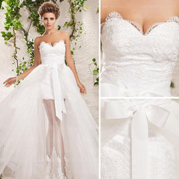 Wholesale NEW V Neckline Front Short Long Back A Line Detachable Train Tulle Lace Wedding Dresses Bridal Dress