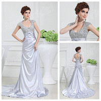 silver wedding dresses - Silver Wedding Dresses with Cap Sleeves Real Pictures Ruffled Stretch Satin Vintage Bridal Gowns Backless Wedding Gowns with Beaded Bodice