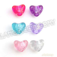 Wholesale Big Hole Colorful Heart Shape Plastic Beads Fit Jewelry Handcraft
