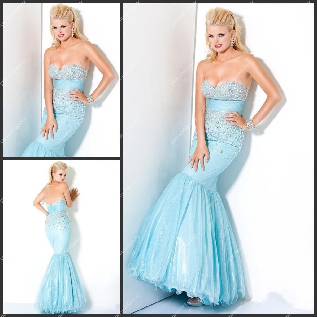 Cheap Light Blue Mermaid Prom Dress Sweetheart Neckline Rhinestone ...