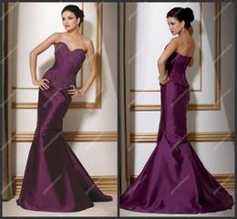 Wholesale Long Cheap Purple Prom Dress Sweetheart Neckline Mermaid Beaded Lace Top UK Debs Prom Gown