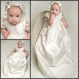 Wholesale Lace Sleeve Christening Gowns Floor Length A Line Taffeta Pretty Babies First Communion Dresses