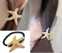 Wholesale New Arrival Fashion Lovely Gold Plated Metal Starfish Hairband Rope Band women s jewelry