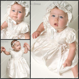 Wholesale Ankle Length First Communion Gowns Short Sleeve Taffeta Appliqued Children Christening Gowns