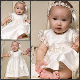 Wholesale Tea Length Lace Sleeve Christening Gowns Short Sleeve Taffeta A Line Babies First Communion Dress