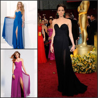 angelina jolie photos - Awesome Angelina Jolie Oscar Celebrity dresses Sweetheart A line Full length Chiffon Evening dress