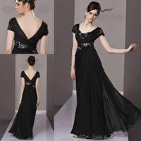 Real Photos ruffled fabric - Temptation Black Evening dresses V neck Sheath Full length Chiffon fabric Backless Long Prom gowns