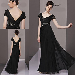 Wholesale Temptation Black Evening dresses V neck Sheath Full length Chiffon fabric Backless Long Prom gowns