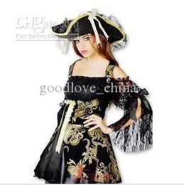 Wholesale Hot sexy Halloween costume Pirates Caribbean embroidery Pirates suit aulic ruffled party costumes