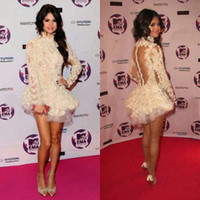 Wholesale Selena Marie Gomez Backless Long Sleeves Mini Beautiful Lace Celebrity Dress CBD056