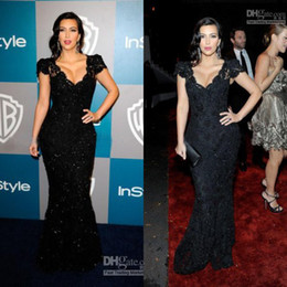 Wholesale Buen Diseño de Moda Kim Kardashian Sexy de Encaje Negro Vestido de famosos CBD059