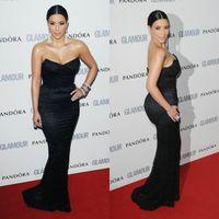 Cheap Mermaid Floor Length Sexy Strapless Kim Kardashian Celebrity Dress CBD072