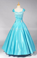 Model Pictures Sweetheart Satin 2014 Hot Blue Sexy Prom Dress A-line Ankle Length Satin Cap Sleeves Pleat Corset Evening Party Gown D015