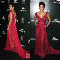 A-Line celebrity style dresses - Halle Berry Red Lace V Neck Fashion T Show New Style Recommended Celebrity Dresses CBD060