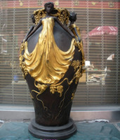 Wholesale 15 Western art Bronze Marble Grape Yellow belle Vase DECO Sculpture