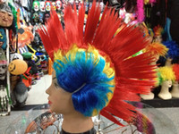 curly African-American Wigs party Cheap Synthetic Spiky Wigs Cockscomb Hair Wig Spiked Football NBA Fans Colorfull Wigs Free Shipping