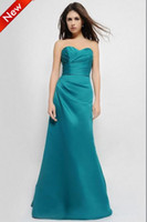Reference Images Pleats Sleeveless New Arrival 2013 Satin Teal Long A-Line Sweetheart Ruched Bodice Cheap Custom Made Bridesmaid Dress