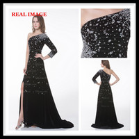 one shoulder black evening dress - 2013 A Line Black Side Slit Party Dresses One Shoulder Beading Long Sleeve Evening Dresses MZ006