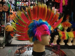 Wholesale Cheap Synthetic Spiky Wigs Cockscomb Party Wig Spiked Football NBA Fans Rainbow Wigs