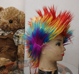 Wholesale Fashion Synthetic Spiky Wigs Cockscomb Party Wig Spiked Football NBA Fans Rainbow Wigs