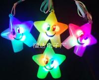 Wholesale Green LED flashing Smile star pendant necklace