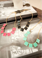 Wholesale New Arrival Fashion Gold Plated Metal Enamel geometry Square Choker Necklace mix color