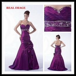 2015 Purple Mermaid Sweetheart Prom Dresses Pleated with Big Bow Taffeta Beaded Ball Gowns HW013