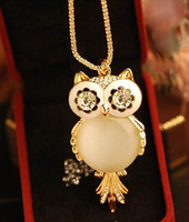South American acrylic animal eyes - Owl Pendant Necklace Fashion Gold Plated Metal Enamel Eyes Rhinestone Cat s Eye Charms long chain for womens jewelry