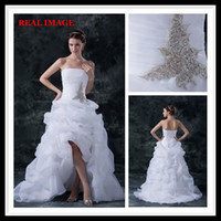 Wholesale Fashion A Line White Sexy Strapless Wedding Dresses Hi Lo Court Train Pleated Beated Bridal Gowns dhyz