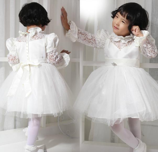 Flower Girl Dresses 2015 A Line Short Sleeve Applique Bows Knee ...