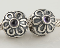 Wholesale Loose Bead Charm Clips Clasp Fashion Purple Gemstone Blooms SILVER Jewelry Accessories KT063
