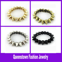 Wholesale New Fashion One Row Spiked Bracelet for Womens Chain Punk Cuff Bracelet Womens Link Bracelet