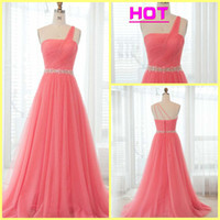 Wholesale 2013 Organza One Shoulder A line Beads Brush long Plus Size Prom Dresses evening Golden Globe Dress