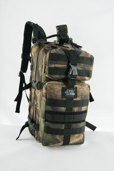 Multi-function outdoor sports khaki tactical backpack with water bag sleeve and tube slot