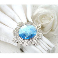 Wholesale Blue Gem Napkin Rings Wedding Bridal Shower Favor Party Christmas Xmas Decoration