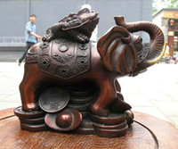 Wholesale 5 quot China Red Bronze Spittor Frog on Yuanbao Elephant Lucky fengshui sculpture statue