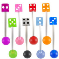 Wholesale surgical steel tongue bars bar ear tounge nipple barbell rings balls with dice acrylic color mixed