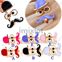 Wholesale 2013 New Hot Punk Cosplay Enamel Hat Glasses Gold Plated Mustache Double Fingers Ring F332 M