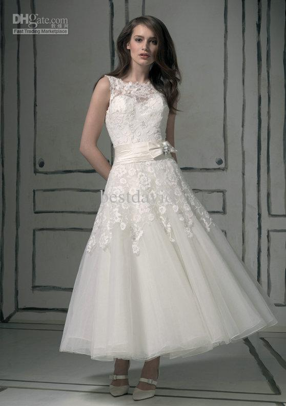 Cheap tea length backless keyhole wedding dress a line for Cheap wedding dresses tea length