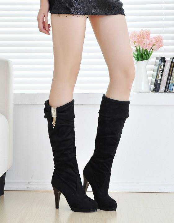 Women Angels High Heeled Boots Long Boots Thick With Knight Gril ...