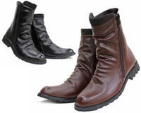 Wholesale Hotsale Men s Shoes Ankle Boots Black Brown Punk Wrinkles Side Zipper PU Leather Outdoor Riding Boot