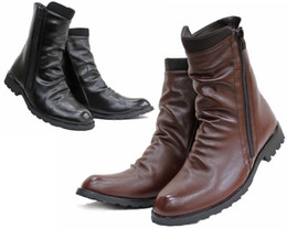 Wholesale Hotsale Men s Shoes Ankle Boots Black Brown Punk Wrinkles Side Zipper PU Leather Outdoor Riding Boots US Size