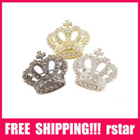 Wholesale Hot Sale Crown Brooch Shinning Clear Rhinestone Silver Plated Pin Brooch Size mm mm XZ1